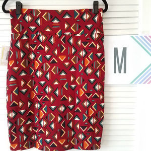 New LuLaRoe Cassie Skirt-Dark Red/BurntOrange/Teal